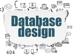 Programming concept: Database Design on Torn Paper background - stock illustration