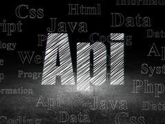 Programming concept: Api in grunge dark room - stock illustration