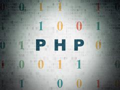 Programming concept: Php on Digital Data Paper background - stock illustration