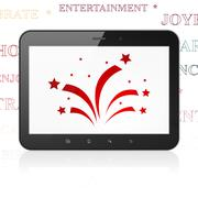 Entertainment, concept: Tablet Computer with Fireworks on display - stock illustration