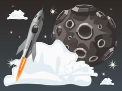Rocket space ship on dark sky background with moon. Vector Illustration Piirros