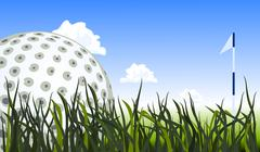 Golf ball on the green grass, close up Stock Illustration