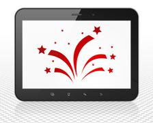 Holiday concept: Tablet Pc Computer with Fireworks on display - stock illustration