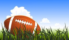 Close up of an american football on the field, vector illustration - stock illustration