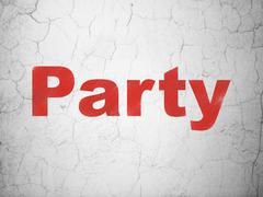 Holiday concept: Party on wall background - stock illustration