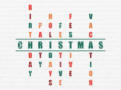 Entertainment, concept: Christmas in Crossword Puzzle - stock illustration