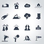 Vector black disaster icon set - stock illustration