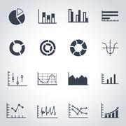 Vector black diagrams icon set - stock illustration