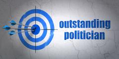 Politics concept: target and Outstanding Politician on wall background - stock illustration