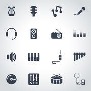Vector black music icon set - stock illustration