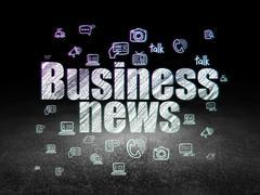 News concept: Business News in grunge dark room - stock illustration