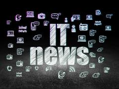 News concept: IT News in grunge dark room - stock illustration