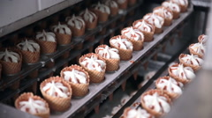 Modern ice cream automatic production line. Automatic equipment at the food Stock Footage