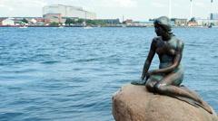 Little Mermaid Statue Copenhagen Stock Footage