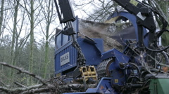 Forestry: Chipping machine detail Stock Footage
