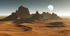 3D Fantasy desert landscape with crater - stock illustration