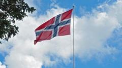 Flag of Norway waving Stock Footage