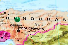 Tegucigalpa pinned on a map of Honduras Stock Photos