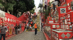 A tourist photographs selaron steps in rio Stock Footage