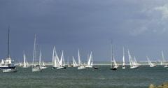 Sailing boats in a regatta - stock footage