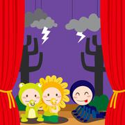 Cute Scary Theater Stock Illustration