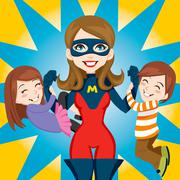 Super Hero Mom - stock illustration