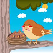 Sparrow Mom Stock Illustration