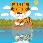 Relaxed Tiger - stock illustration