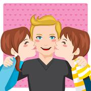 Kissing Dad Stock Illustration