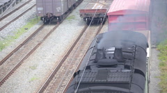 The smoke from the chimney of the diesel locomotive . Stock Footage