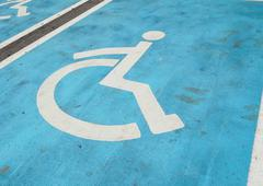 the parking space for handicapped people. - stock photo