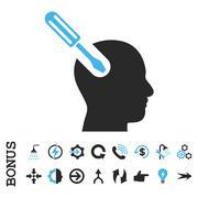Brain Tool Flat Vector Icon With Bonus - stock illustration