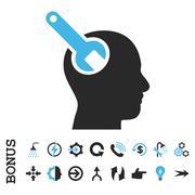 Brain Tool Flat Vector Icon With Bonus Stock Illustration