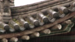 View to the traditional Chinese roof in the rain in Xian, China. Stock Footage