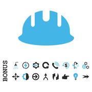 Builder Hardhat Flat Vector Icon With Bonus - stock illustration