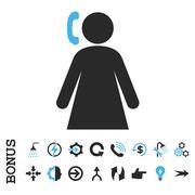 Calling Woman Flat Vector Icon With Bonus - stock illustration