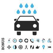 Car Shower Flat Vector Icon With Bonus - stock illustration
