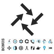 Centripetal Arrows Flat Vector Icon With Bonus - stock illustration