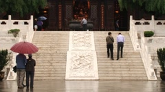 Tourists visit the Big Wild Goose pagoda in Xian, China. Stock Footage