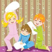Pillow fight - stock illustration