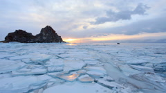 Sunset on Lake Baikal. Burkhan Cape, Olkhon island, Lake Baikal, Irkutsk region, Stock Footage