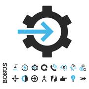 Cog Integration Flat Vector Icon With Bonus Stock Illustration