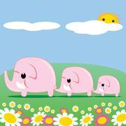 Cute Pink Elephants Stock Illustration