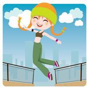 Jumping Girl Stock Illustration