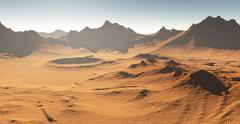 Dust storm on Mars. Sunset on Mars. Martian landscape with craters - stock illustration