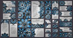 Business and invitation template Cards set with mandala ornament. Vintage dec - stock illustration