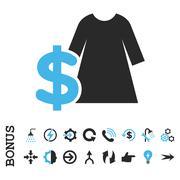 Dress Price Flat Vector Icon With Bonus - stock illustration