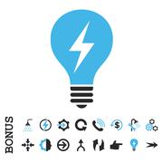 Electric Bulb Flat Vector Icon With Bonus Stock Illustration