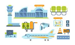 Airport Related Objects Set Stock Illustration