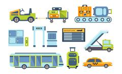 Airport Related Objects Collection Stock Illustration